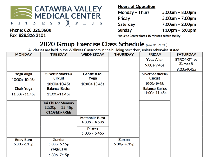 fitness plus class schedule, fitness center hickory nc, fitness classes hickory